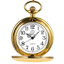 SIBOSUN Classic Smooth Vintage Golden Mens Quartz Pocket Watch with Chain - $34.75