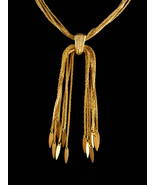 Vintage Monet necklace -  Gold Tassel Choker  - couture jewelry - Multi ... - $185.00