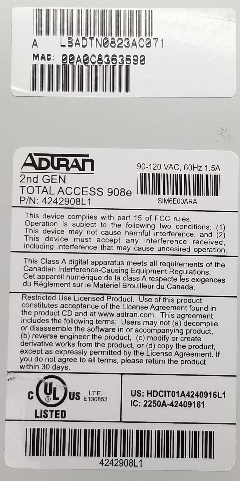 Adtran 2nd Gen Total Access 908e (4242908L1) Dual DSP Bin:14