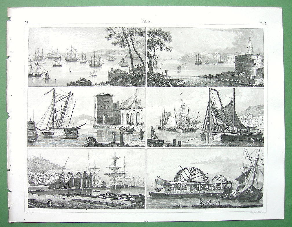 Primary image for SHIPS Naval Equipment Cranes Roadsteads Arsenal Piles - SUPERB Antique Print