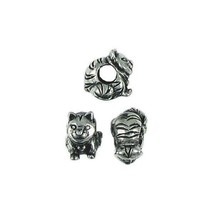 CAT BEAD LARGE HOLE FINE PEWTER BEAD - 8mm  x 12mm x 13mm 4.8mm Hole