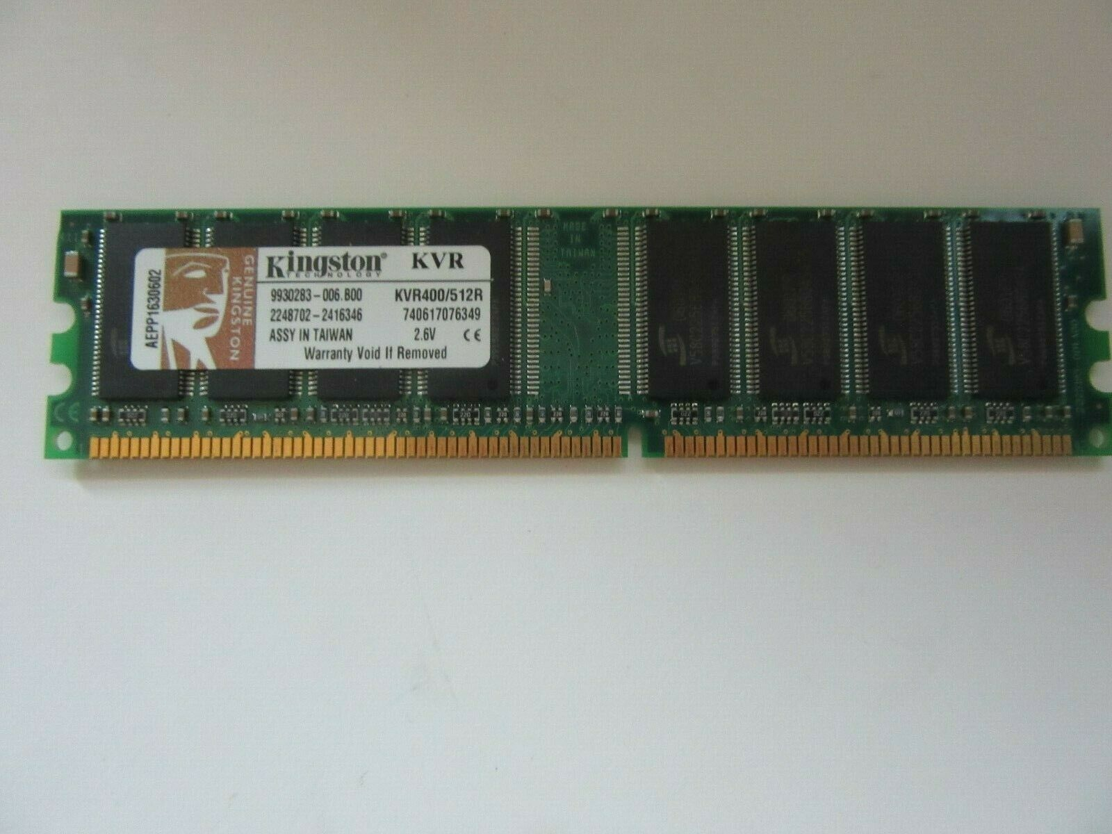 Primary image for Kingston PC3200 (DDR-400) 512 MB DIMM 400 MHz PC-3200 DDR Memory (KVR400/512R)