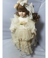 Vintage Porcelain Doll Court of Dolls Brown Curly Hair White Dress Angel - $37.19