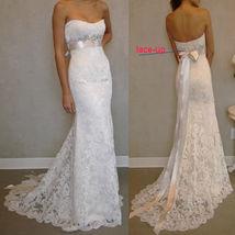Newly Lace Mermaid Wedding Dresses White Beaded Long Bridal Dress Bow St... - $90.00