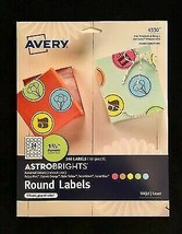 """NEW! Avery Labels 4330 Astrobrights Round 1-2/3"""" Diameter 240 Labels / 5 Colors - $7.91"""