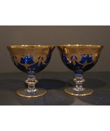 Arte Italica Crystal MEDICI Cobalt 24K Gold Swags Like NEW Pair of Sher... - $140.00