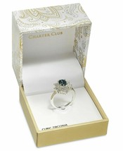 Charter Club Silver-Tone Blue Sapphire Cubic Zirconia Oval Halo Ring, Size 9 NIB