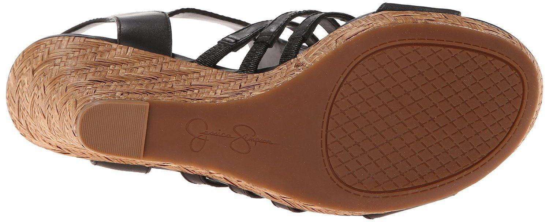 Women Jessica Simpson Jhane Wedge Sandals, Size 10 Black JS-JHANE NIB