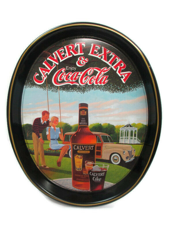 Primary image for Coca-Cola Tray Calvert Extra Whiskey And Coca-Cola Woody Wagon Issued 1978
