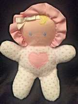 Eden Terry Cloth Baby Doll Rattle Heart White Pink Polka Dot - $29.69