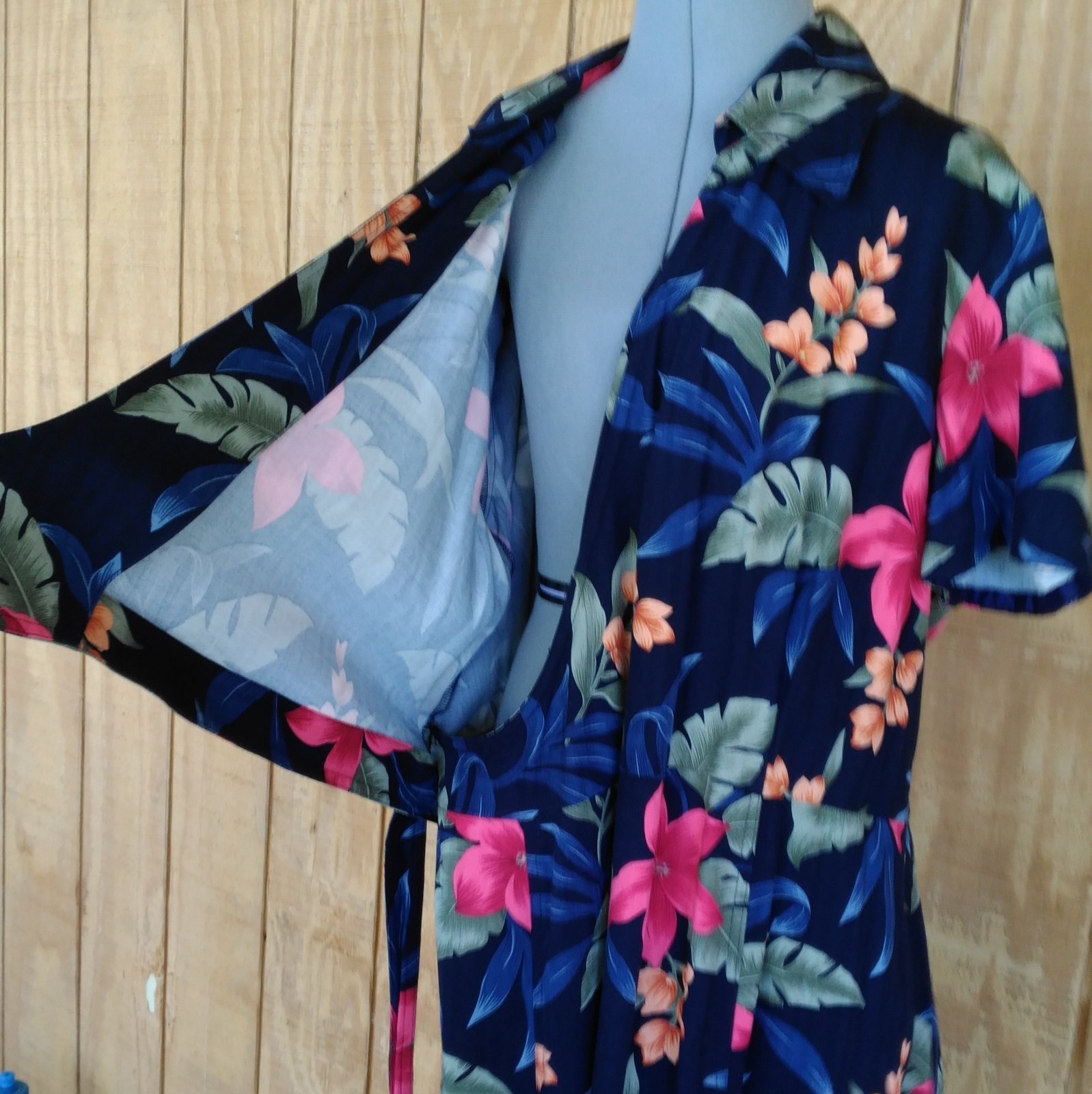 """Caribbean Joe """"Let Go"""" Maxi Wrap Dress XL Hawaiian dress Vintage"""
