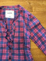 Abercrombie Kids Girl's Blue & Pink Plaid V-Neck Dress Shirt - Medium image 7