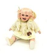 Cathay Collection Porcelain and Cloth Chubby Baby Doll Blonde Pigtails 3... - $72.26
