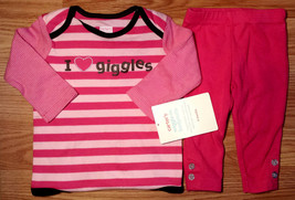 "Girl's Size 6 M 3-6 Months 2 Piece Carter's Pink ""I Love Giggles"" NWT To... - $18.00"