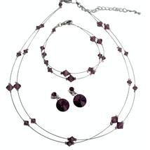 Amethyst Crystals Double Stranded Necklace Bracelet Earrings Jewelry Sets Women - $18.99+