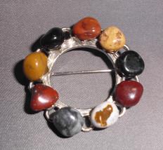VTG Silver Tone Polished Stone Circle Wreath - $7.43