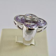 Silver Ring 925 Rhodium with with Crystals Purple and Crystal Clear image 3