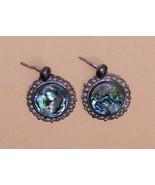 Vintage STERLING SILVER & ABALONE Pierced Earrings - $18.00
