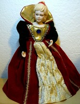 Victorian Lady Ceramic Doll in  Red and Green, Gold, and Red Velvet gown... - $15.84