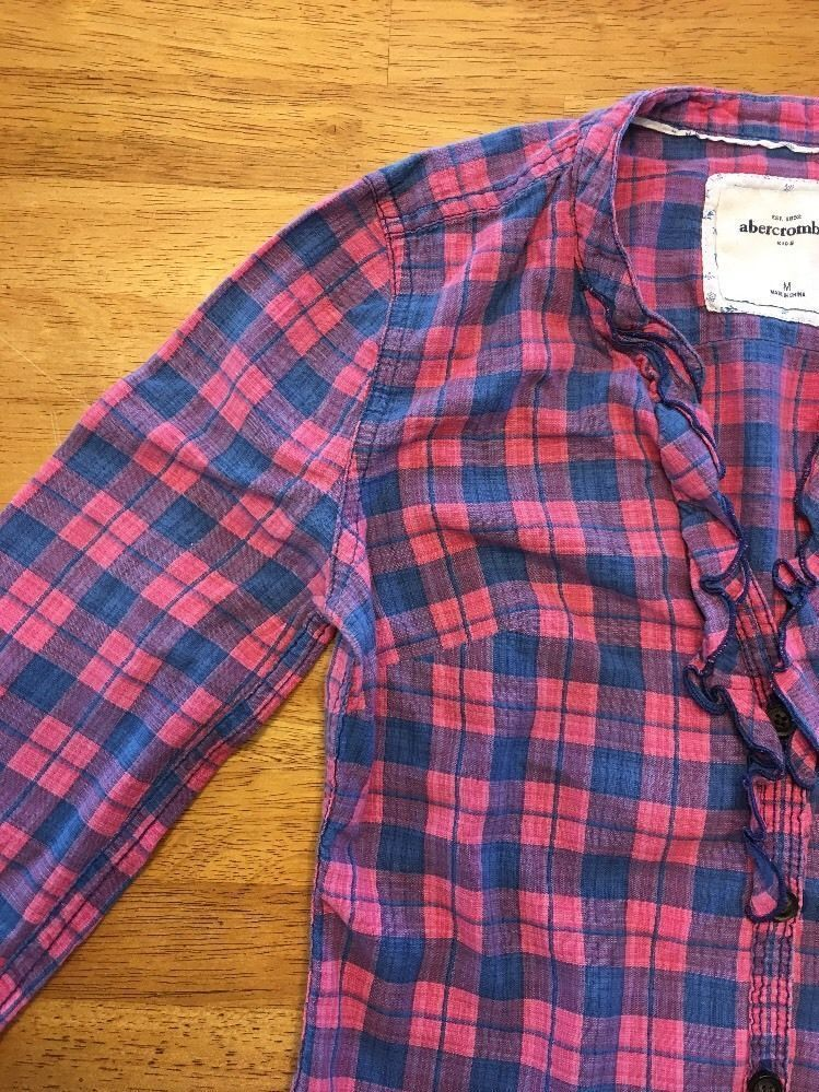 Abercrombie Kids Girl's Blue & Pink Plaid V-Neck Dress Shirt - Medium image 6