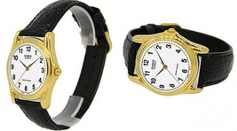 Casio MTP-1096Q-7B Mens White Analog Gold Watch Black Leather Band Quart... - $17.04 CAD