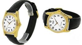 Casio MTP-1096Q-7B Mens White Analog Gold Watch Black Leather Band Quart... - $12.82