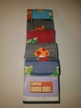 super mario bros mens casual crew socks 5 pairs per package new designs two - $19.95