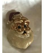 Estate Enamel & Goldtone SANTA CLAUS Head w Clear Rhinestone Accents Chr... - $11.29