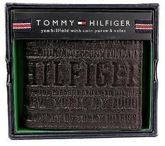NEW TOMMY HILFIGER MEN'S PREMIUM LEATHER COIN WALLET YEN BILLFOLD BROWN 5647/02
