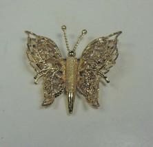 Monet Gold Tone Filigree Butterfly Pin Brooch - $10.88