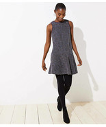 Ann Taylor LOFT Dress S M Purple Black Tweed Sleeveless Flounce Flippy S... - $44.95