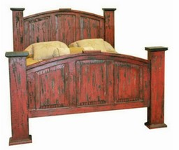 Queen Mansion Red Scraped Bed Solid Read Wood Distressed Shabby Chic Rustic - $989.01