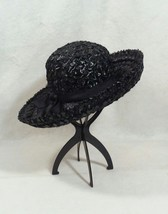 Vintage Black Straw Hat with Grossgrain Bow - $139.00