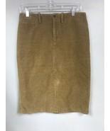 Ralph Lauren Women's 4 Tan Pencil Skirt Back Slit Brown Wide Corduroy - $24.74