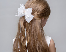 Cute Girl Bow Tie Hair Clip Hairpin White Wedding Flower Girl Hair Accessories  image 4