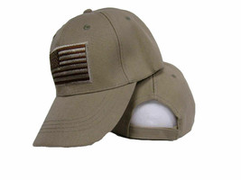 USA US U.S. America Hat American Flag Khaki Tan Patch Baseball Cap  - €18,32 EUR