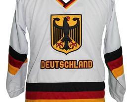 Custom Name # Team Germany Retro Hockey Jersey New Sewn White Fritz #68 Any Size image 4