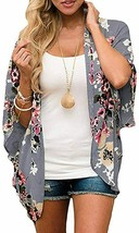 Zando Women's Floral Print Kimono Cardigans Summer Loose Puff Sleeve Ope... - $29.08+