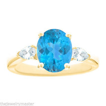 BLUE TOPAZ & PEAR SHAPE DIAMOND ENGAGEMENT RING YELLOW GOLD OVAL 10mmx8m... - €1.293,46 EUR