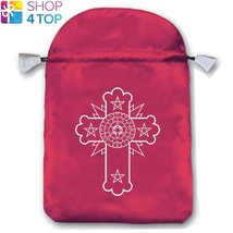 ROSICRUCIAN SATIN BAG PINK EMBROIDERED CARDS LO SCARABEO 160x225 MM NEW - $11.28