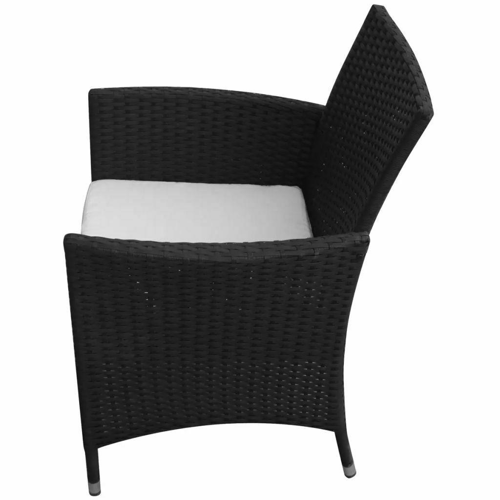 vidaXL 2x Garden Chairs Poly Rattan Wicker Black Patio Outdoor Furniture Seat