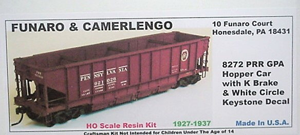 Funaro F&C PRR GPA hopper w/ K brake, White circle keystone decal kit 8272
