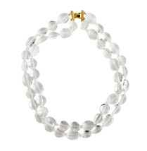 Liz Claiborne Double Strand Large Clear Lucite Beads Necklace with Gold Clasp - $16.00