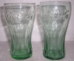 LIBBEY Coca-Cola McDonald (2) Light Green Tall Collectible Tumbler Glass - $22.99
