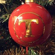 Letter T in Gold on Red Ceramic Monogram Ornament