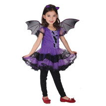 PartyCostume Halloween Purple Bat Girl Costume Children Cosplay Fancy Da... - $9.99