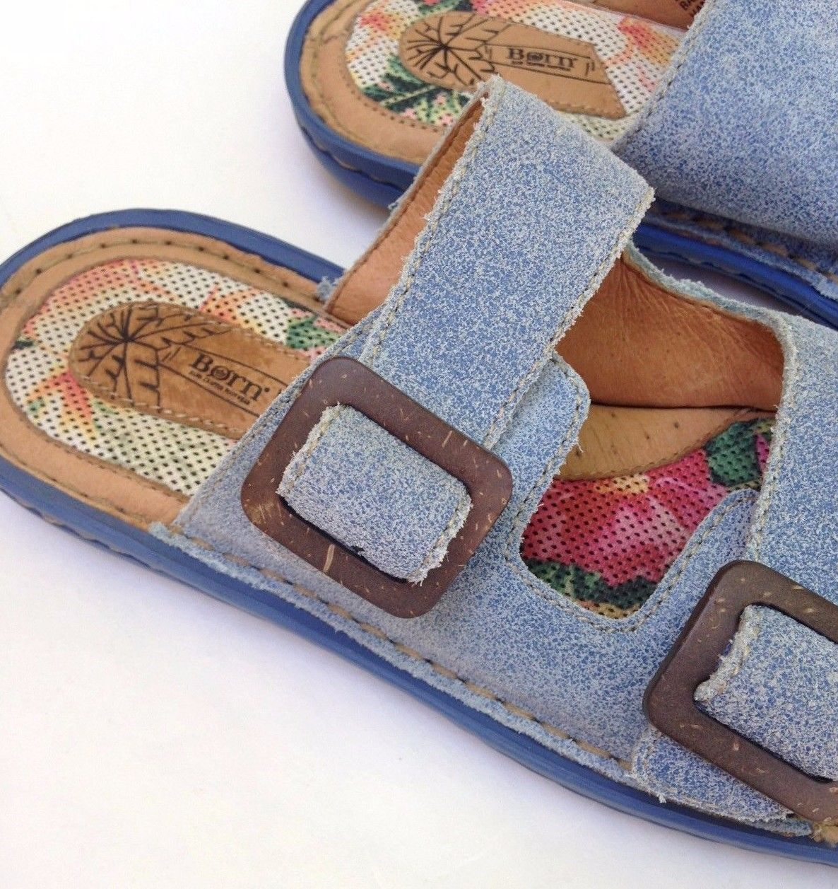 7bbc31fbc816b BORN SANDALS WOMENS Blue SUEDE Flat Comfort Padded Slides Shoes 36 US 5.5 -  6