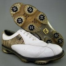 Footjoy DryJoys Tour Croc Golf Shoes Mens SZ 11.5 Soft Spike Cleats White Brown - $56.09