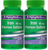 Piping Rock Iron Ferrous Sulfate 65 mg 2 Bottles x 250 Coated Tablets Di... - $25.95+