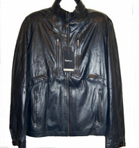Zegna Sport Men's Navy Dark Blue Water Repellent Soft Leather Jacket Siz... - $1,611.09